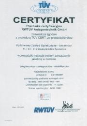Certyfikat 2001